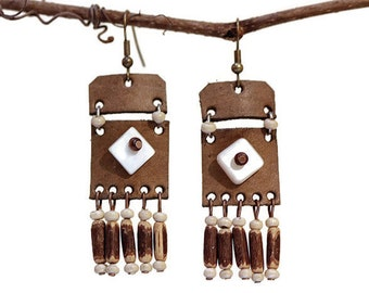 handmade leather earrings womens leather jewelry