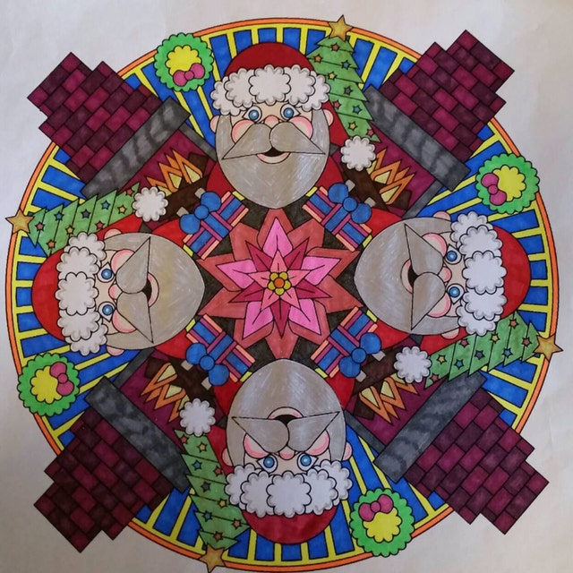 Christmas Eve adult coloring page mandala by Candy Hippie http://candyhippie.com