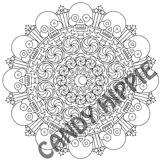 halloween mandala coloring page 2spooky printable by candyhippie. Black Bedroom Furniture Sets. Home Design Ideas