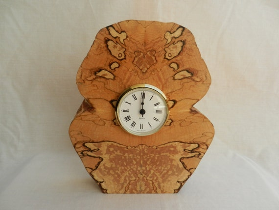 Wooden Mantle Clock Owl Design In Scottish Spalted Beech Wood