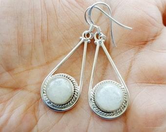 Moonstone Earrings -  Sterling Silver Earrings - White Moon Stone Earrings - Silver Teardrop Earrings- Moonstone Jewelry
