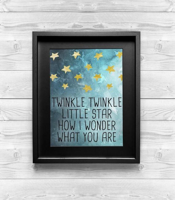 Printable Art - Twinkle, Twinkle, Little Star -  Baby Room Decor