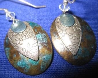 Unique Handmade 925 Sterling Silver and Aurora Borealis Dangle Earrings