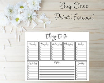 To Do List Printable - Checklist Printable - Daily To Do List - Weekly To Do List - Instant Download - Day Planner Printable - Daily Planner