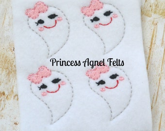 UNCUT Halloween Girly Ghost Feltie Set (4) Embroidered Applique - Hair Bow Center