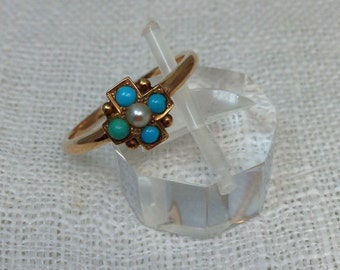 Turquoise and Pearl Rose Gold Ring - Size 7