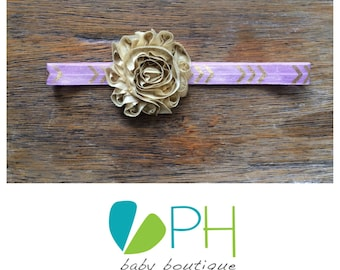 Gold and Lavender Arrow Headband with a Shabby Chic Gold Flower, Purple Baby Girl Headband, Newborn - Adult Hair Accessories, Lilac