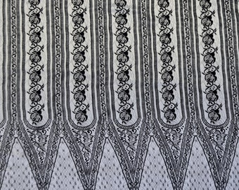 Sale! Higth class fashion french lace fabric. Black color, natural cotton and viscose. 1.65 x 0.84m. Made in France.