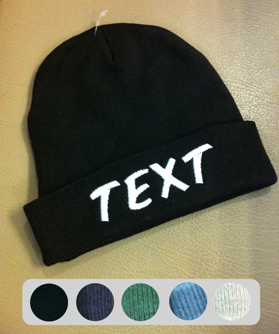 custom beanie hats no minimum needed embroideried logo or