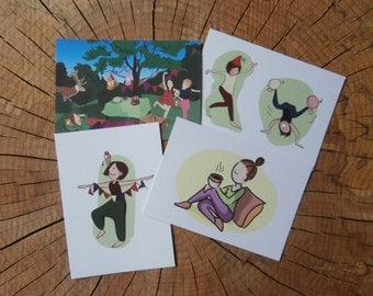 set of 4 postcards