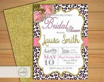 Animal Print Bridal Shower Invitation / Digital Printable Leopard Invite for Wedding / DIY Party