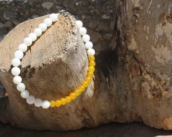 Color Block Yellow/Cream Bracelet