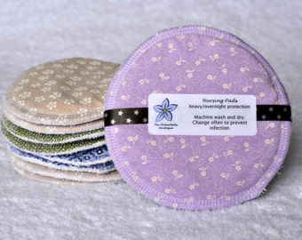 Overnight Nursing Pads, Heavy Protection Breast Pads with Leak Barrier, Organic Bamboo Core, 1 pair (2 pads total), Washable and Reusable