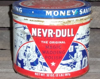 Vintage Nevr-Dull Magic Wadding Polish 2 Pound Tin - Metal Cleaner - Cleaning Products - Home Decor - Collectible Tin - Autos - Man Cave