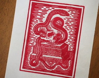 death and snake red linocut