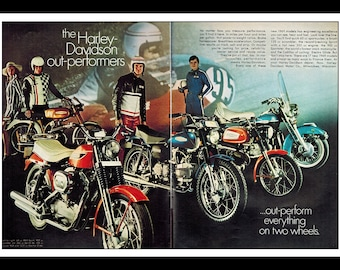 "Vintage Print Ad February 1969 : Harley Davidson Motorcycles Out-Performers 2 Page Advertisement Wall Art Decor Color 16"" x 11"""