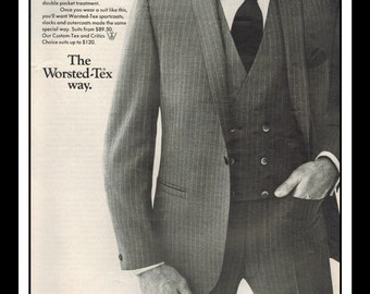 "Vintage Print Ad October 1968 : Fashion Worsted-Tex Suit Wall Art Decor 8.5"" x 11"" Advertisement"