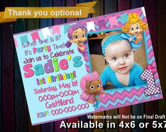 Bubble Guppies Invitation - Bubble Guppies Birthday - Pink or Blue - Nickelodeon Birthday - Party Ideas Printable