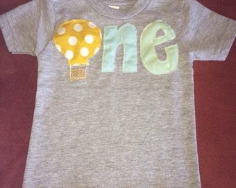 First birthday hot air balloon one t-shirt