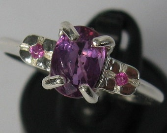 Rare! purple sapphire 1.26 ct  natural unheated untreated  & sterling silver 925 ring size 7