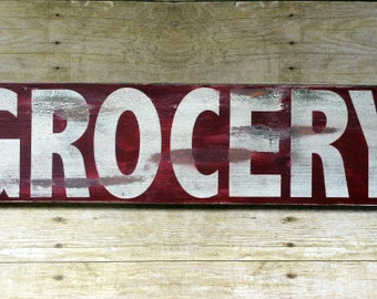 Rustic Farmhouse Kitchen Grocery Sign, Farmhouse Style Wood Sign, Grocery Sign, Rustic Kitchen Decor, Farmhouse Kitchen, Pantry Sign