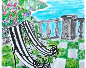 Lawn chairs on seaside terrace.