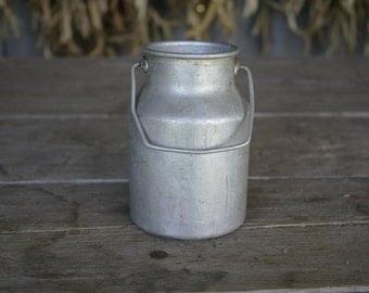 Aluminium milk can Soviet vintage water pot metal jug Soviet milk pail small retro Milk Pot 1970s Farmhouse kitchen decor USSR  pitcher
