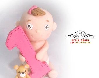Baby First Birthday Cake Topper  - Birthday - Baby Shower - Party - Baby Girl Cake Topper - Keepsake - Clay Cake Topper - Teddy Bear Topper