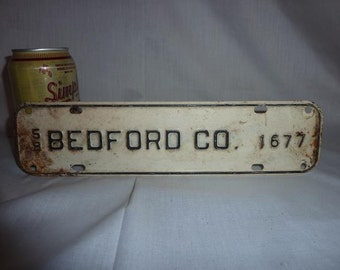 Vintage 1958 Bedford Virginia County Tax License Plate