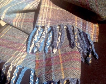 Luxury MULBERRY 'Country Plaid' Pure Wool Tweed Wrap around Shawl Scarf wide Heather Blue Slate Grey Purple Country Check Traditional Design