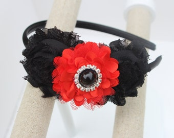 Black girls headbands black and red flower girl headband black and red Christmas headband Christmas wedding red and black headbands girls
