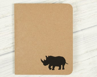 Rhino Notebook, Pocket Journal, Eco, Note Book, Rhino Gifts, Animal Stationary, Kraft Notebook, Rhinoceros, Recycled Notebook, Safari