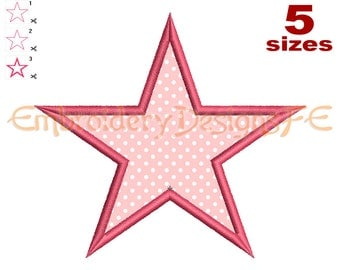 Star Applique - 5 Sizes - Machine Embroidery Design File
