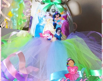 Disney princess ribbon trimmed overall tutu set