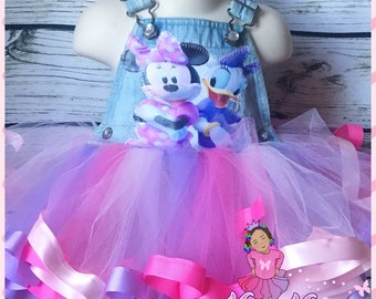 minnie mouse and daisy ribbon trimmed custom overall tutu set