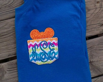 Disney Pocket Tshirt womans monogrammed youth girls baby toddler minnie mickey mouse chevron vacation black pink red yellow south shirt