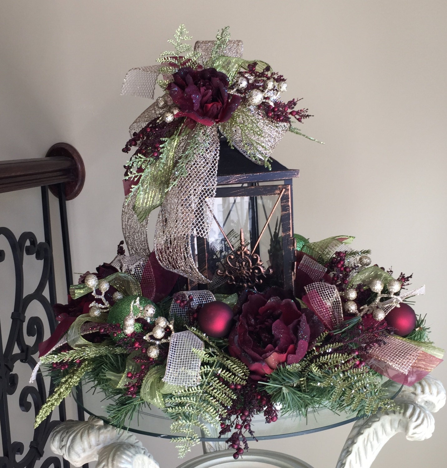 Christmas holiday lantern and wreath by theenchantedorchid