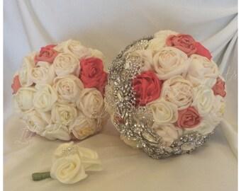 Satin Brooch Bouquet Set