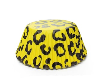 Black & Yellow Cheetah Print Cupcake Liners Standard Size | 25 pieces