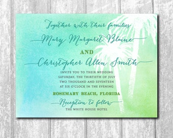 Beautiful Beach/Tropical Wedding Invitation with Watercolor background/printing or digital file
