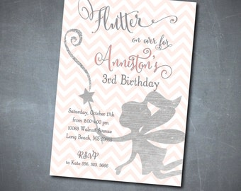 "Fairy Birthday Invitation...""Flutter on over"" with silver foil glitter detail DIGITAL FILE/printable/ wording & background can be changed"