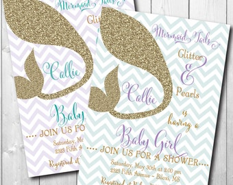 Mermaid Baby Shower Invitation printable/Digital File/Under the Sea Shower, purple and teal, gold, mermaid shower/Wording can be changed