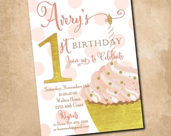 Cupcake First Birthday Invitation/Digital File/pink and gold, candle, gold and pink, cake, watercolor, simple/Wording can be changed