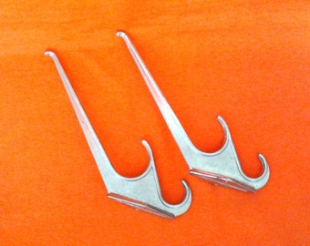 Set of 2 Soviet vintage aluminium clothes hooks, hangers / Made in USSR , 1970s