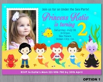 Little Mermaid Photo Invitation, Mermaid Photo Invitation, Mermaid Birthday Invitation, Under the sea Invitation