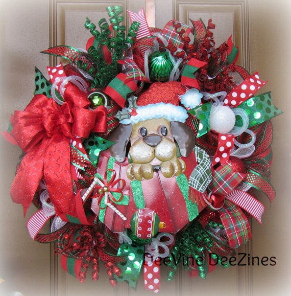 santa puppy christmas deco mesh wreath christmas deco mesh. Black Bedroom Furniture Sets. Home Design Ideas