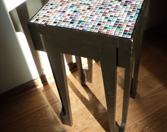Retro  Mosaic Tiled Accent Table with Great Legs made of carved ebony stained wood and small tiled Mosaic Table Top, Great for A Small Space