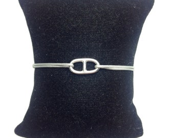 Link and Navy Hermes on cord. Sterling Silver 925