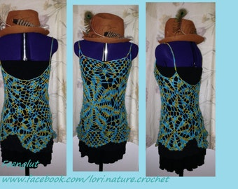 hand dyed merino lace flower windmill doily mini dress