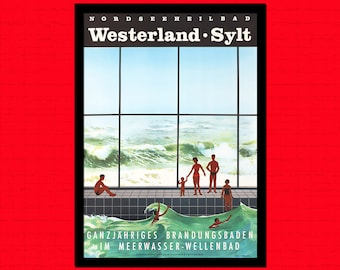 German Travel Print - Westerland Travel Poster Travel Travel Decor German Poster Westerland Poster   Reproductiont